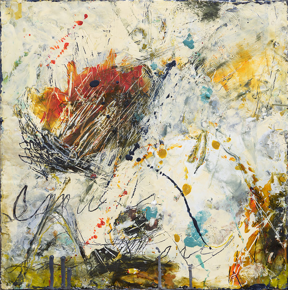 Changing Conditions 3 - 18 in. x 18 in. - Encaustic Mixed Media on Panel